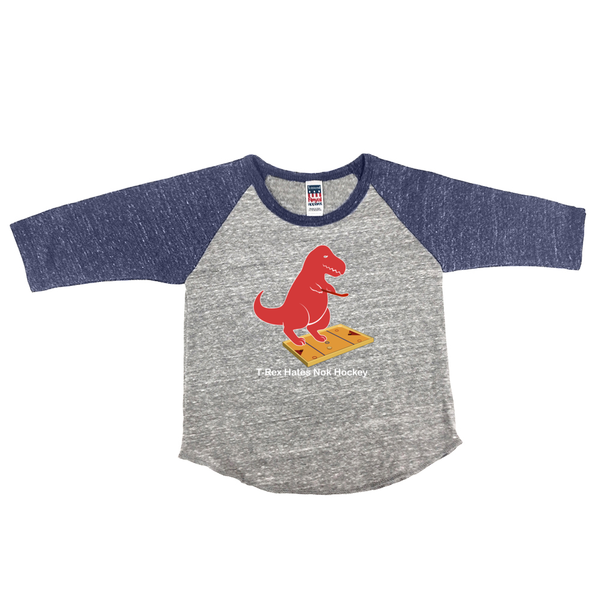 T-Rex Hates Knock Hockey Vintage Infant Raglan