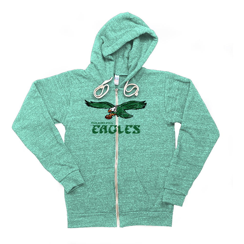 Retro Philadelphia Eagles Inspired Soft Unisex Tri Blend Zip Up Hoodie - Generation T