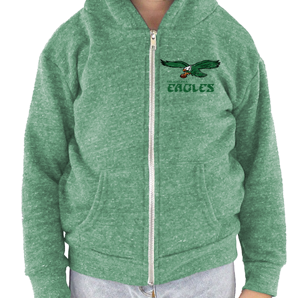 Retro Philadelphia Eagles Inspired Toddler Tri Blend Zip Up Hoodie