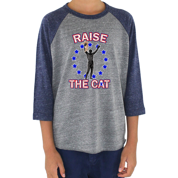 Retro Raise the Cat Tri Blend Youth Raglan