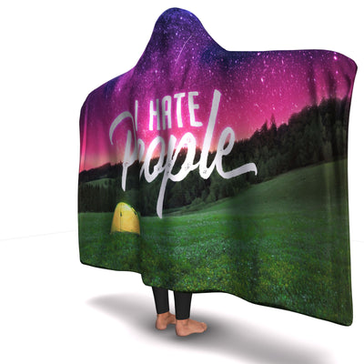 I Hate People Camping Hooded Blanket