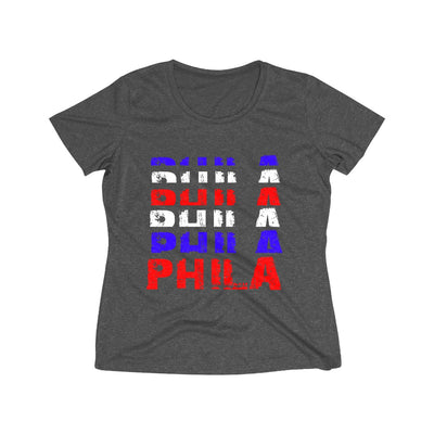 Philly Red White and Blue Repeat Women's Heather Wicking Tee