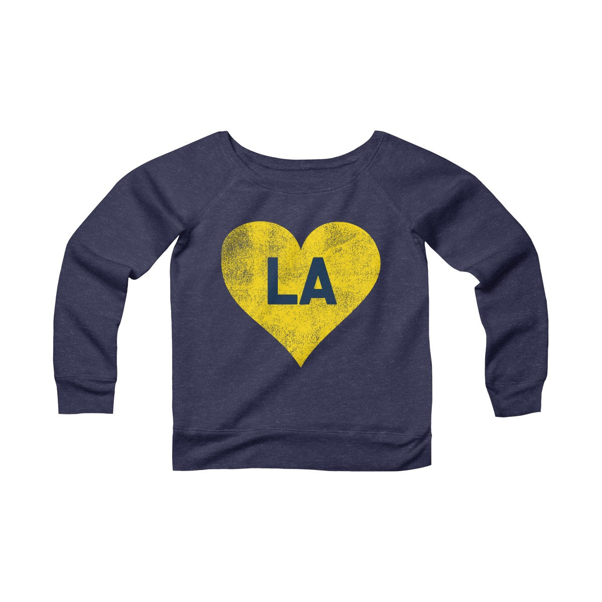 LA Love Women's Sponge Fleece Wide Neck Sweatshirt