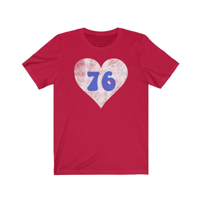 Retro Red Philly 76 Heart Unisex Jersey Short Sleeve Tee