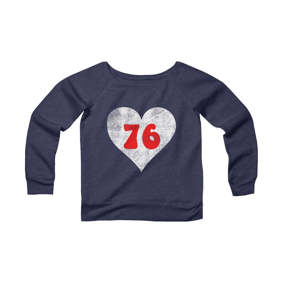 Retro Philly 76 Heart Women's Navy Sponge Fleece Wide Neck Sweatshirt