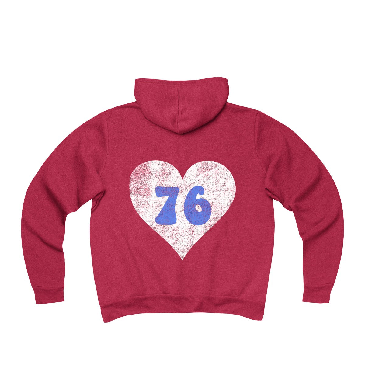 Red Retro Philly 76 Heart Unisex Sponge Fleece Full-Zip Hoodie