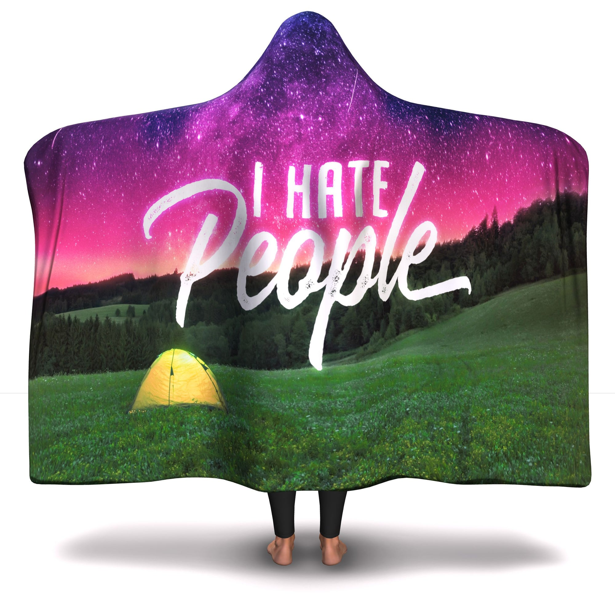 Funny Camping Hooded Blanket