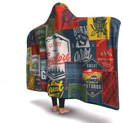 Camping Patchwork Hooded Blanket