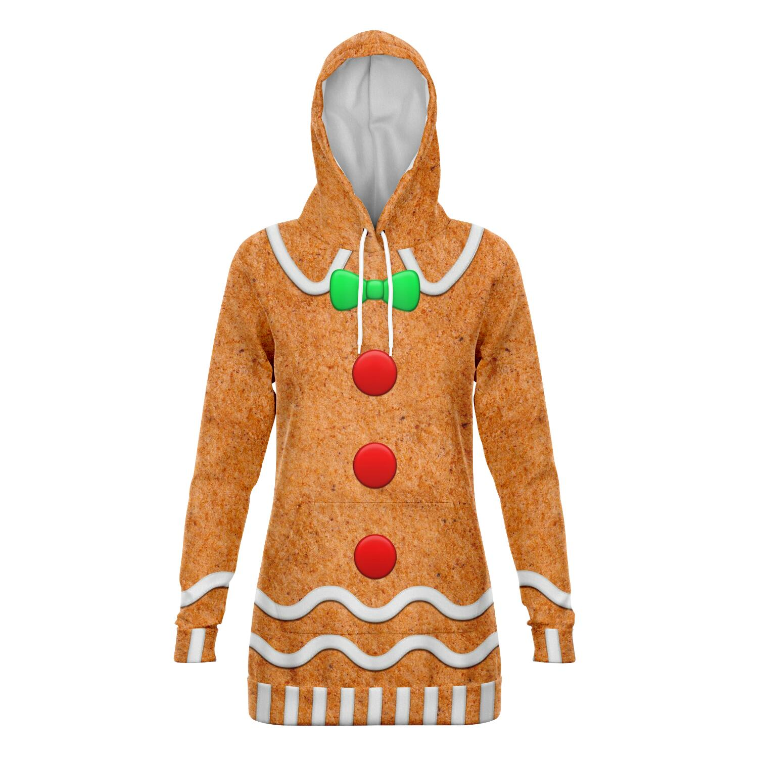 Gingerbread - Fashion Longline Hoodie All Over Print