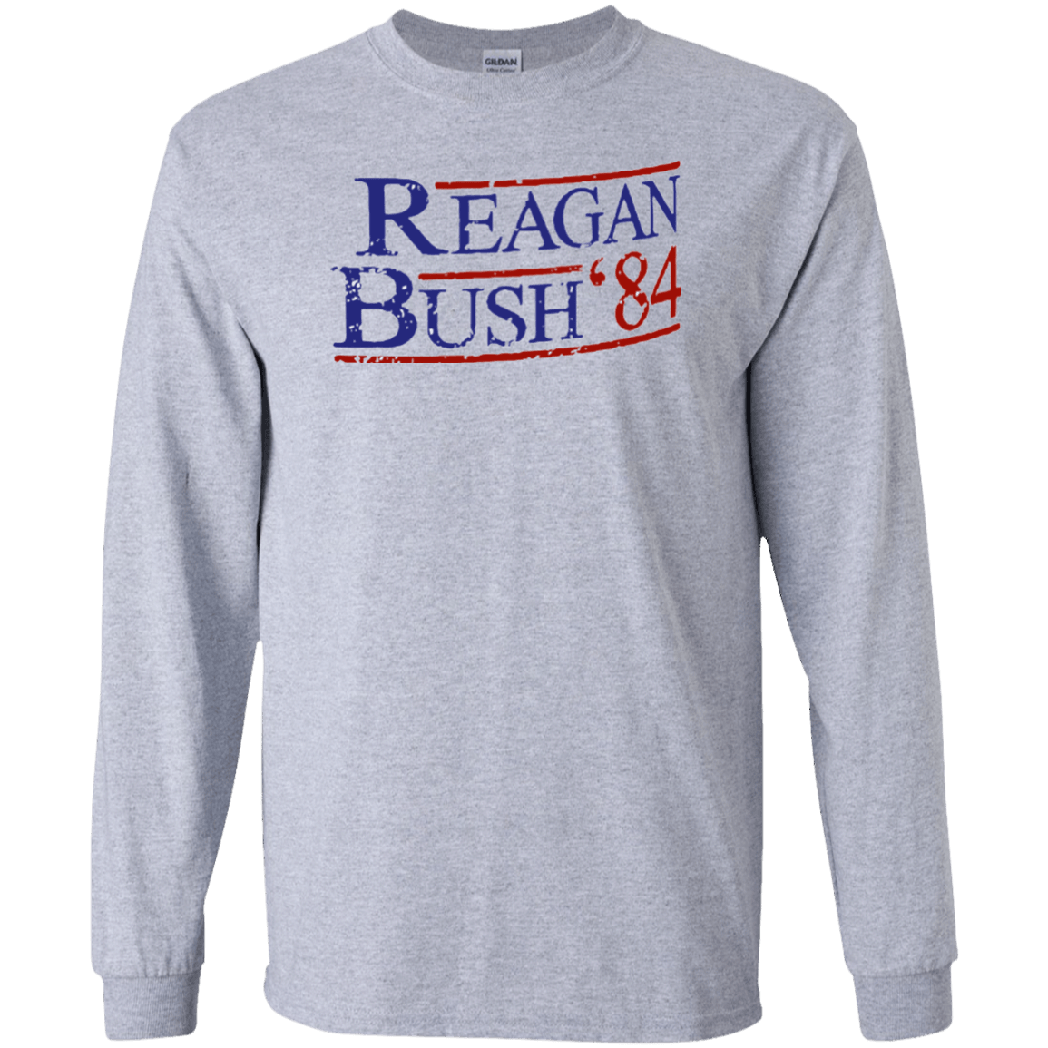 84 Reagan Bush Long Sleeve Grey Ultra Cotton T-Shirt - Generation T