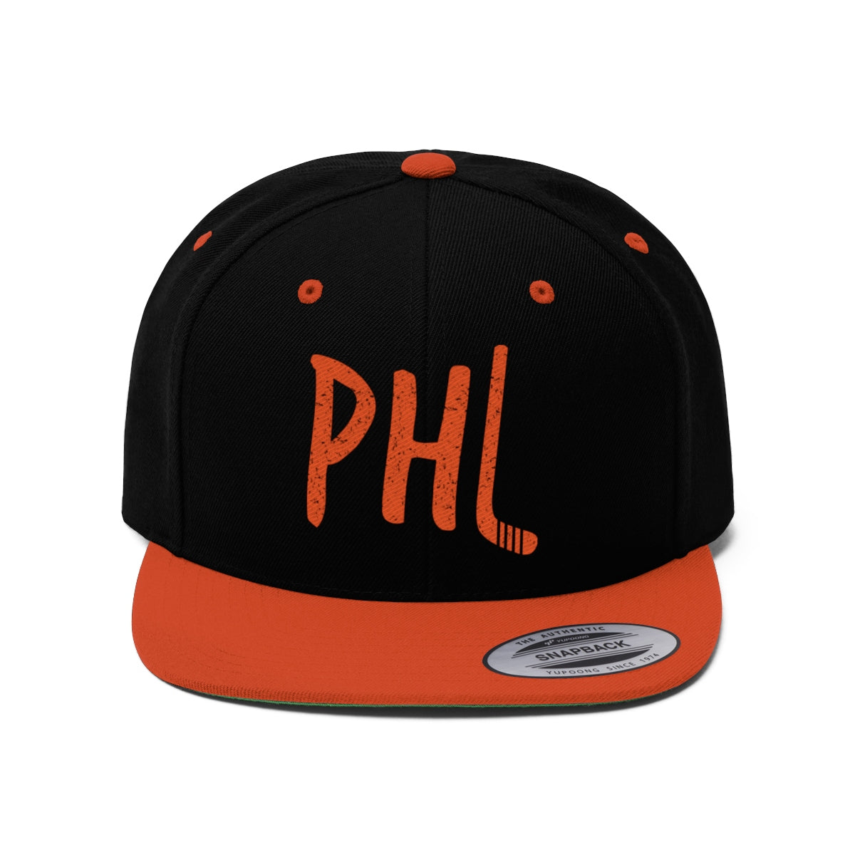 Retro Philadelphia Ice Hockey Embroidered Unisex Flat Bill Hat