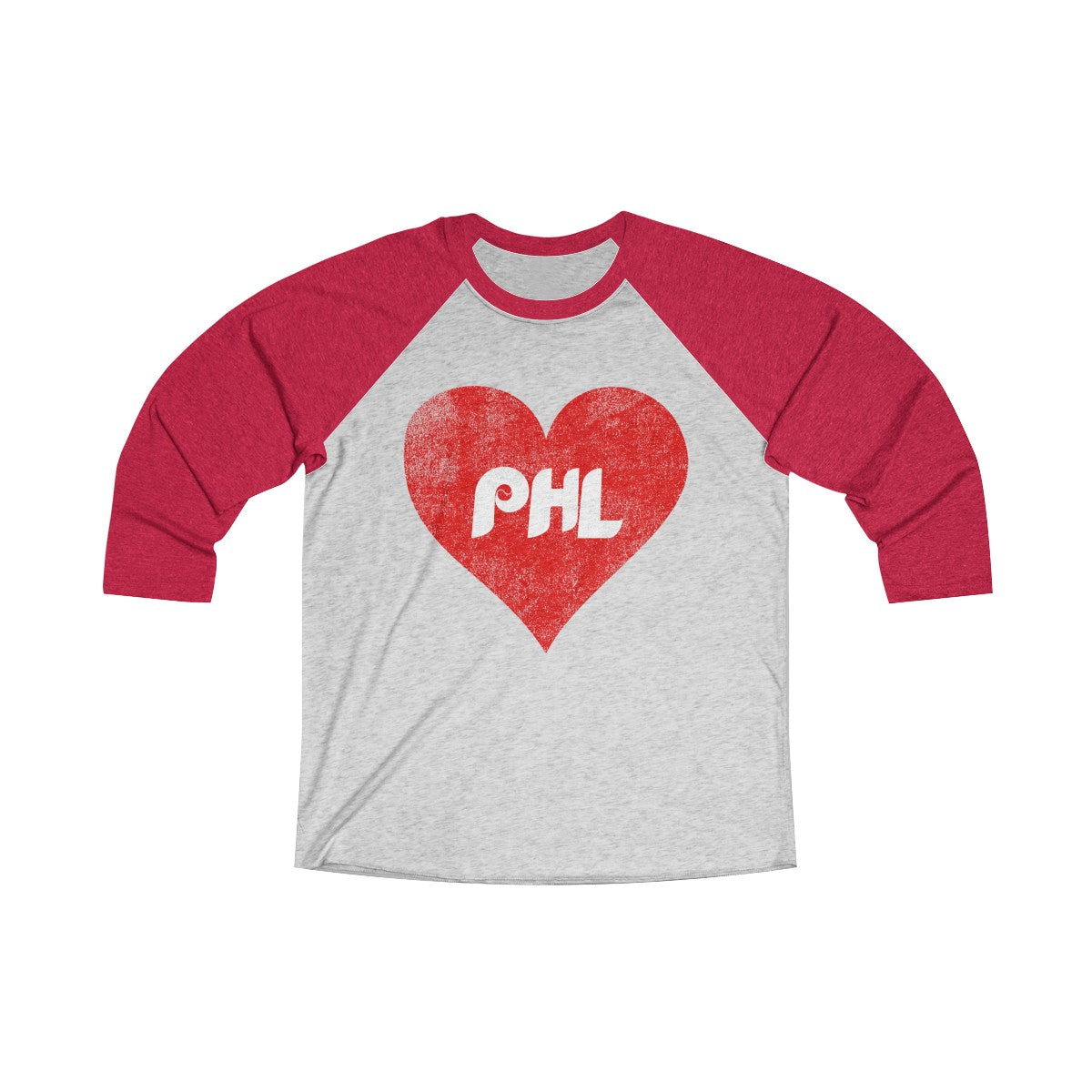 Retro Distressed Philly Baseball Love Unisex Tri-Blend 3/4 Raglan Tee