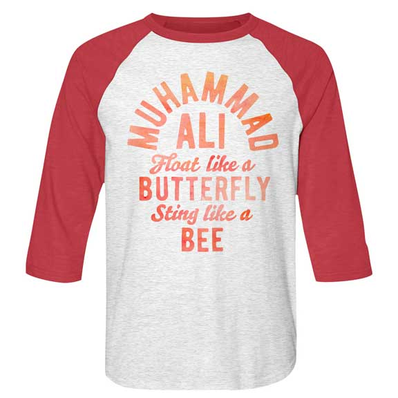 Muhammad Ali Butterfly and Bee Mens Raglan