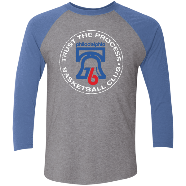 Trust the Process Hoops Club Tri-Blend 3/4 Sleeve Baseball Raglan T-Shirt