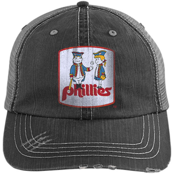 Retro Phillies Inspired Phil and Phyllis Distressed Unstructured Trucker Cap - Generation T