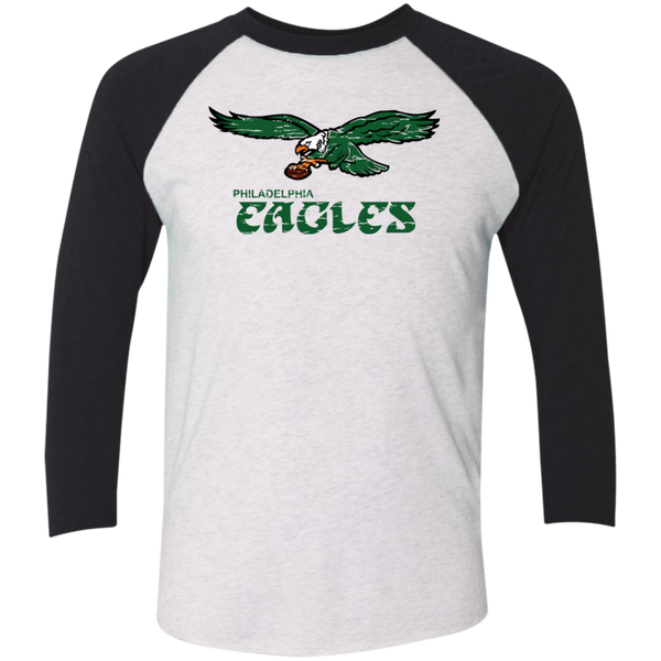 Retro Philadelphia Eagles Inspired Tri-Blend Baseball Raglan T-Shirt