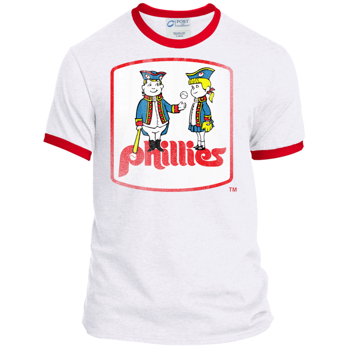 Retro Phillies Inspired Phil and Phyllis Ringer Tee - Generation T 49500f7b402