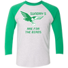 Sundays Are For The Birds Unsiex Tri-Blend 3/4 Sleeve Baseball Raglan T-Shirt