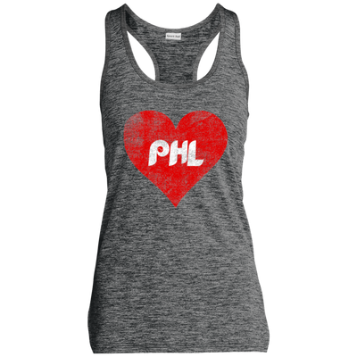 PHL Love Heart Ladies' Moisture Wicking Electric Heather Racerback Tank
