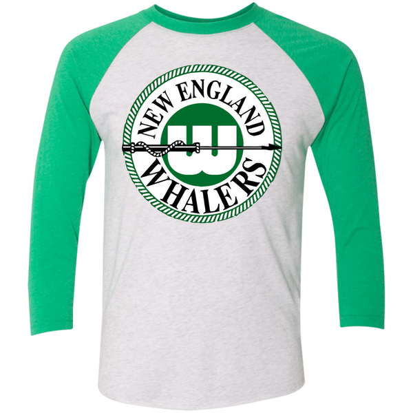New England Whalers Tri-Blend 3/4 Sleeve Baseball Raglan T-Shirt