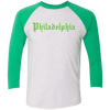 Old English Philadelphia Unisex Tri-Blend 3/4 Sleeve Baseball Raglan T-Shirt
