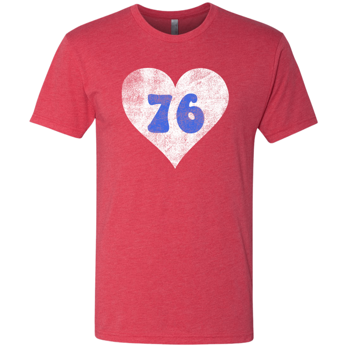 Retro Red Philly 76 Distressed Heart Men's Triblend T-Shirt