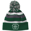 Fly Birds Fly Striped Beanie with Pom