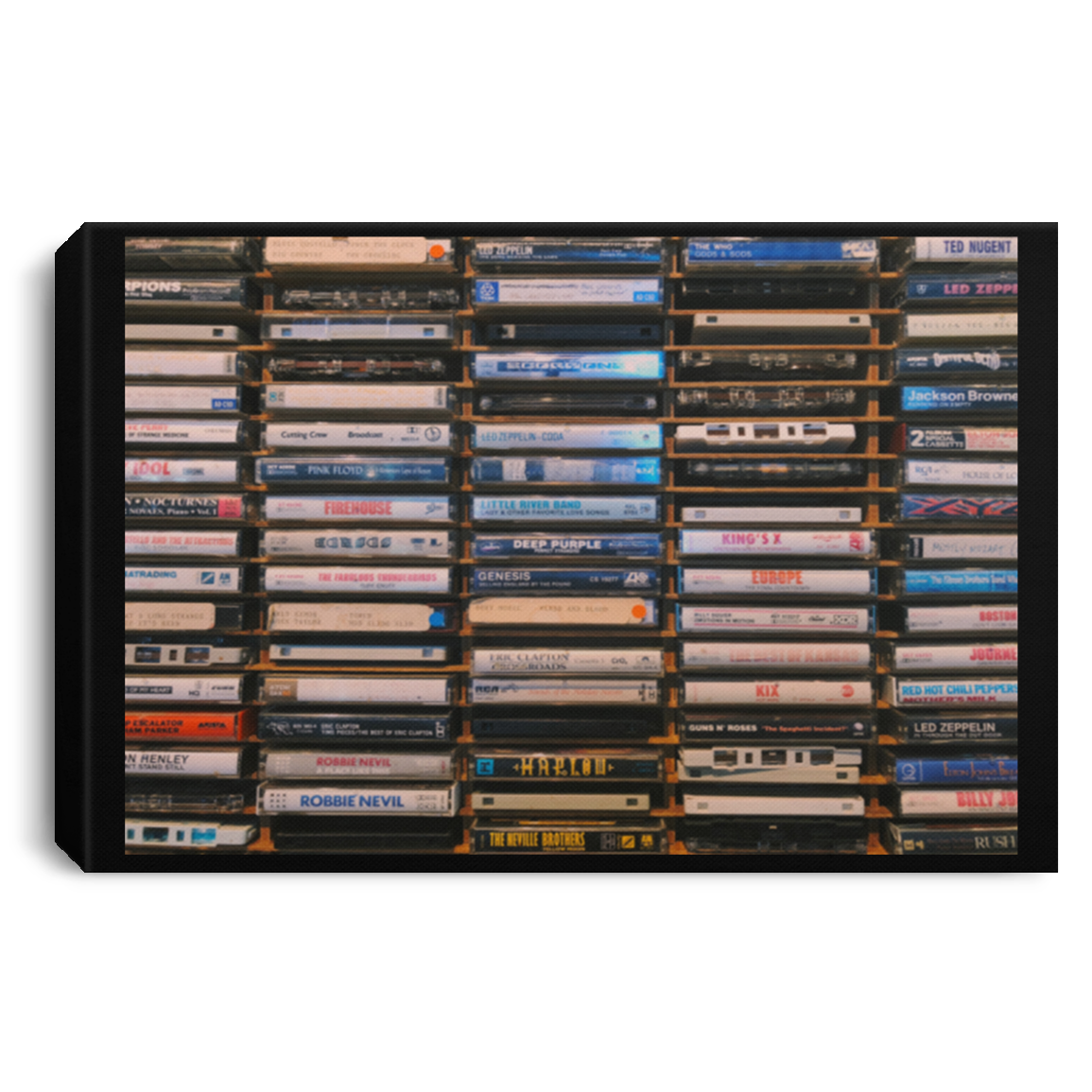 Old School Cassettes Landscape Canvas .75in Frame