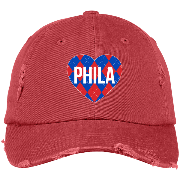 Argyle I Heart Philadelphia Distressed Embroidered Dad Cap