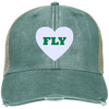 Fly Football Distressed Embroidered  Cap