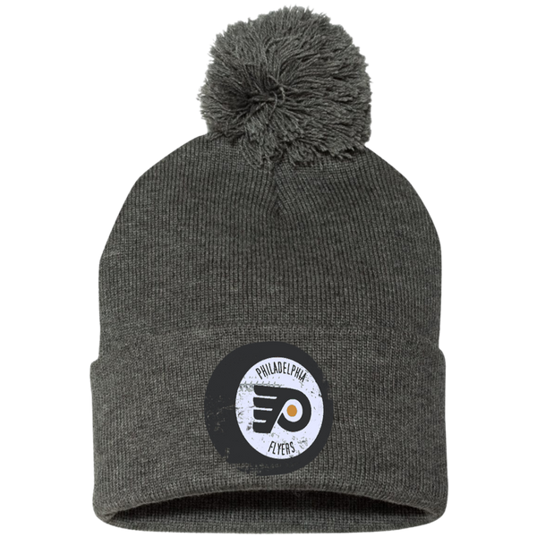 Philly Hockey Puck Inspired Pom Pom Knit Cap - Generation T