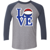 Philly Hoops Love Tri-Blend 3/4 Sleeve Baseball Raglan T-Shirt