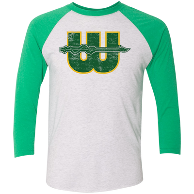 Retro 1970s Hartford Whalers Inspired Tri-Blend 3/4 Sleeve Baseball Raglan