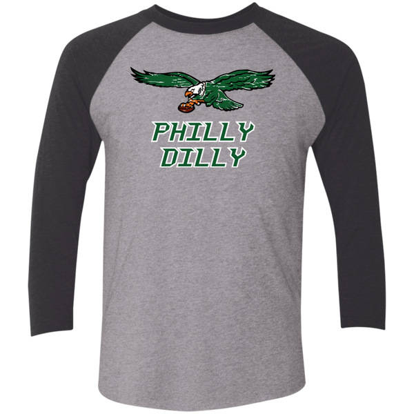 Philly Dilly Tri-Blend 3/4 Sleeve Baseball Raglan T-Shirt