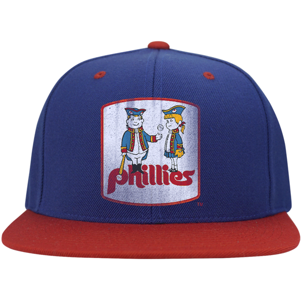Retro Phillies Inspired Phil and Phyllis Flat Bill High-Profile Snapback Hat - Generation T