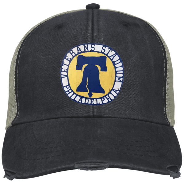 Retro Veterans Stadium Distressed Mesh Back Embroidered Cap