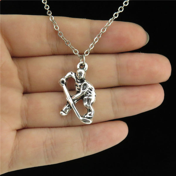 Silver Alloy Womens / Girl Jewelry Hockey Player Charm Pendant Short Chain Collar Necklace 18""
