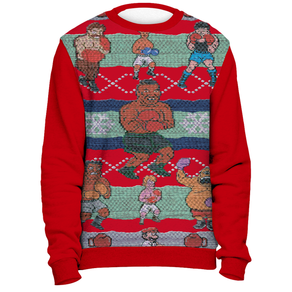 Red Tyson Punchout Inspired Ugly Christmas Sweatshirt