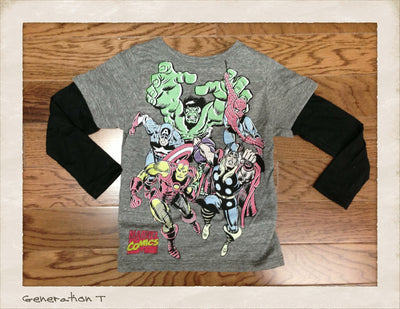 Mini Fine Boys Marvel Comics Characters 2Fer Tee Shirt - Generation T