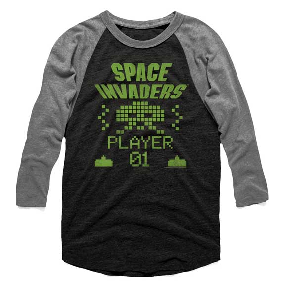 Space Invaders Player 01 Mens Raglan