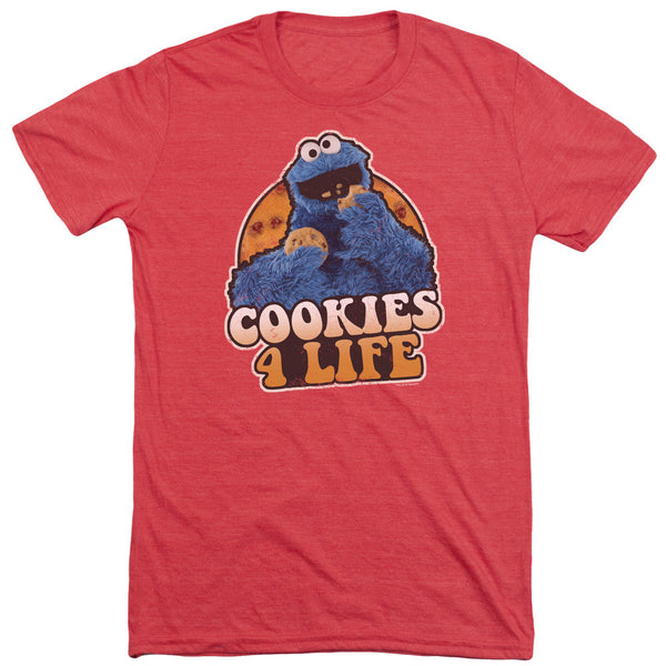 Sesame Street Cookie Monster Cookies 4 Life Adult Soft Tri Blend T-Shirt