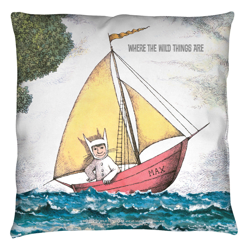 Where the Wild Thing's Are Max's Boat Retro Throw Pillow - Generation T