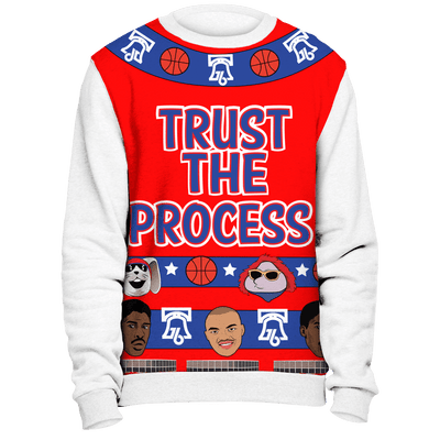 A Trust the Process Christmas Sweatshirt with White Sleeves - Generation T