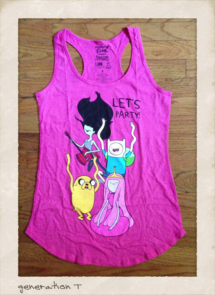 Womens Vintage Inspired Adventure Time Let's Party Tank Top - Generation T