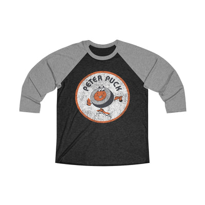 Retro Peter Puck Circle Logo Inspired Unisex Tri-Blend 3/4 Raglan Tee