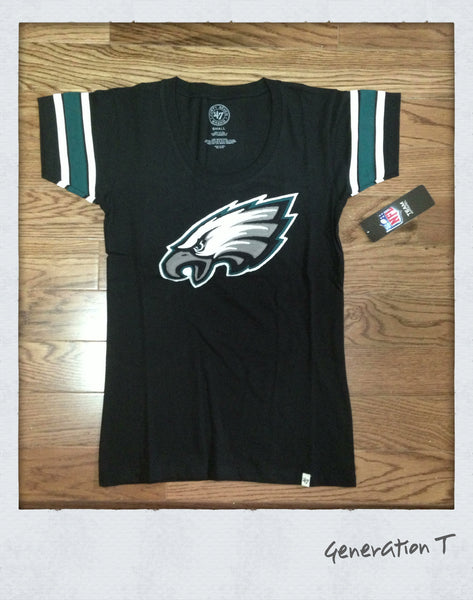 Womens 47 Brand NFL Philadelphia Eagles Off Campus Tee Shirt - Generation T