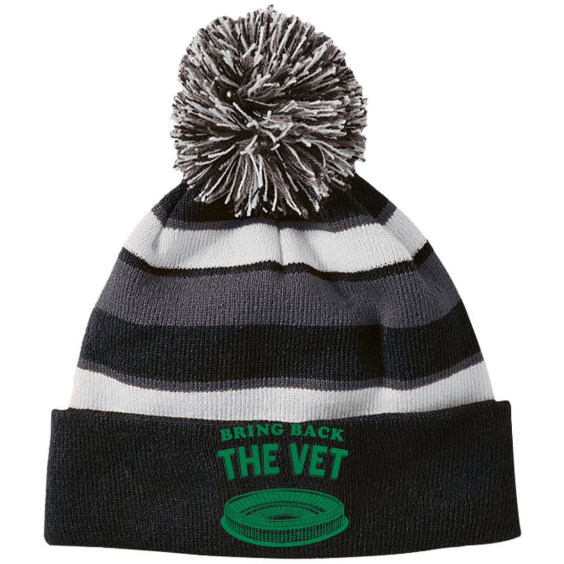 5067f36e6bd Bring Back The Vet Striped Beanie with Pom - Generation T
