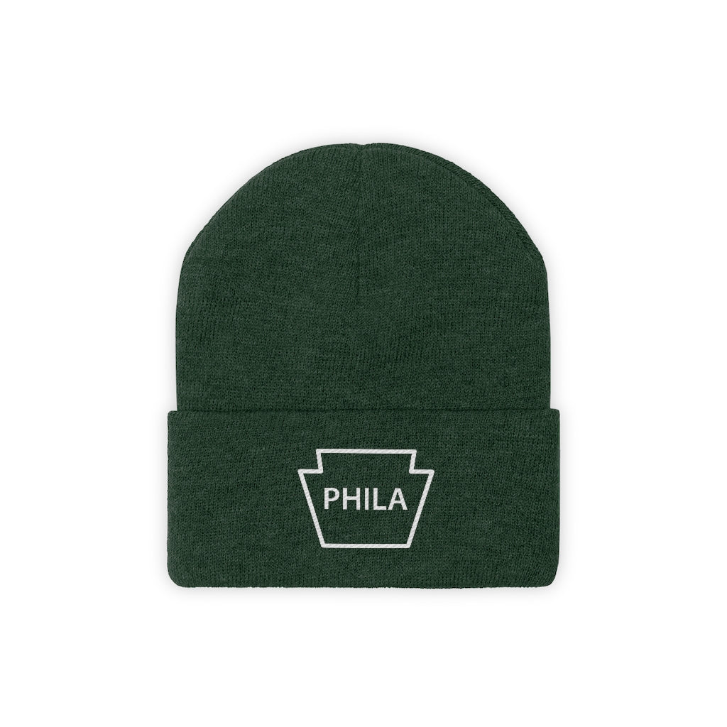 Phila Keystone Knit Beanie in Forrest Green