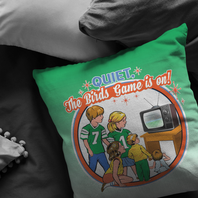 Quiet The Birds Are On Retro Pillow