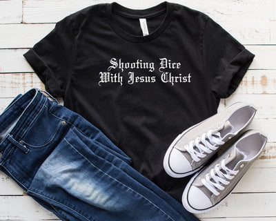 Shooting Dice With Jesus Christ Unisex Jersey Short Sleeve Tee